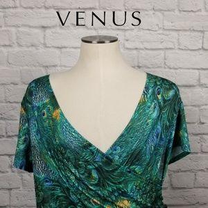 Venus Womens Peacock Print Surplice Tunic Sz L